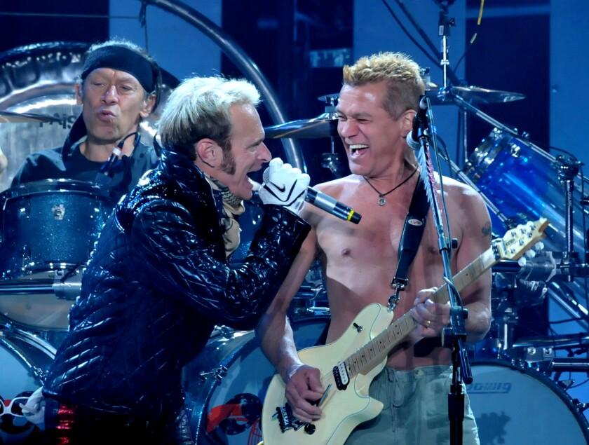 David Lee Roth and Eddie Van Halen perform in 2008.