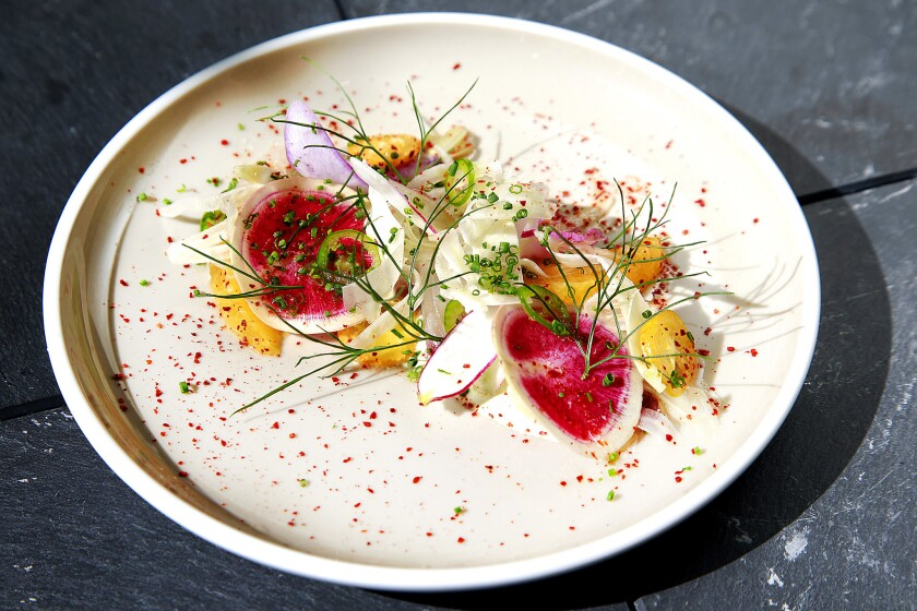 """From the """"Raw"""" menu: Hamachi with shaved fennel, white soy, wasabi and market citrus served at Paley."""