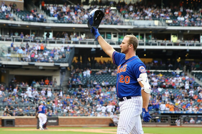 Pete Alonso of the New York Mets waves to the crowd after flying out to left field during the eighth inning of a game Sept. 29 against the Atlanta Braves at Citi Field.