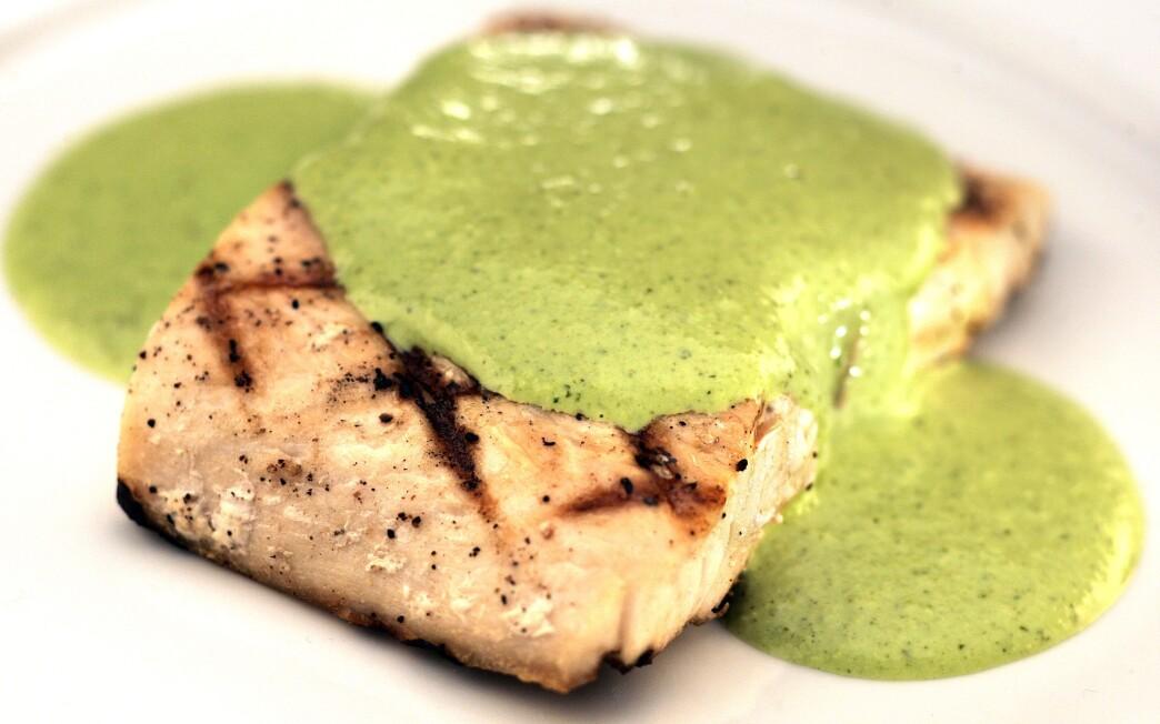 Grilled fresh mahi-mahi with jalapeno cilantro sauce