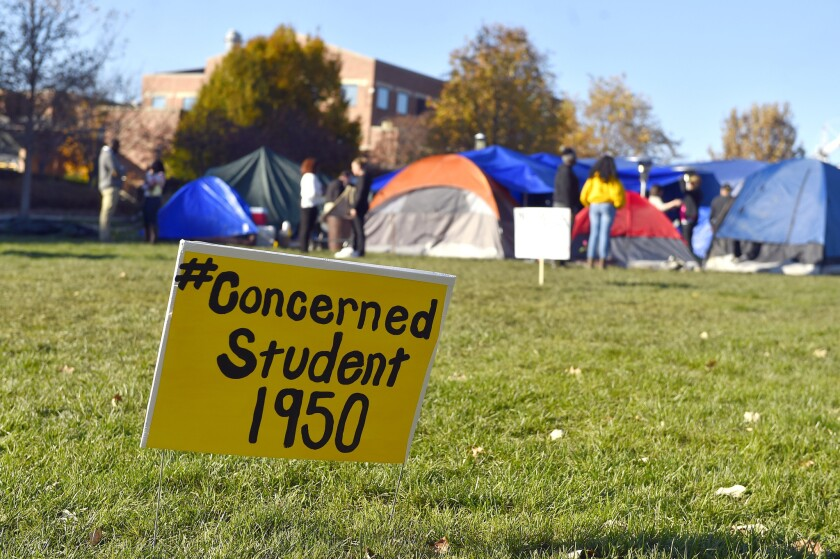 University of Missouri students are protesting racial incidents using the hashtag #ConcernedStudent1950 -- the year the university began accepting black students.