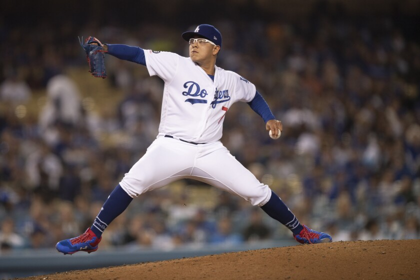 Julio Urias pitches against the Chicago Cubs on June 13.