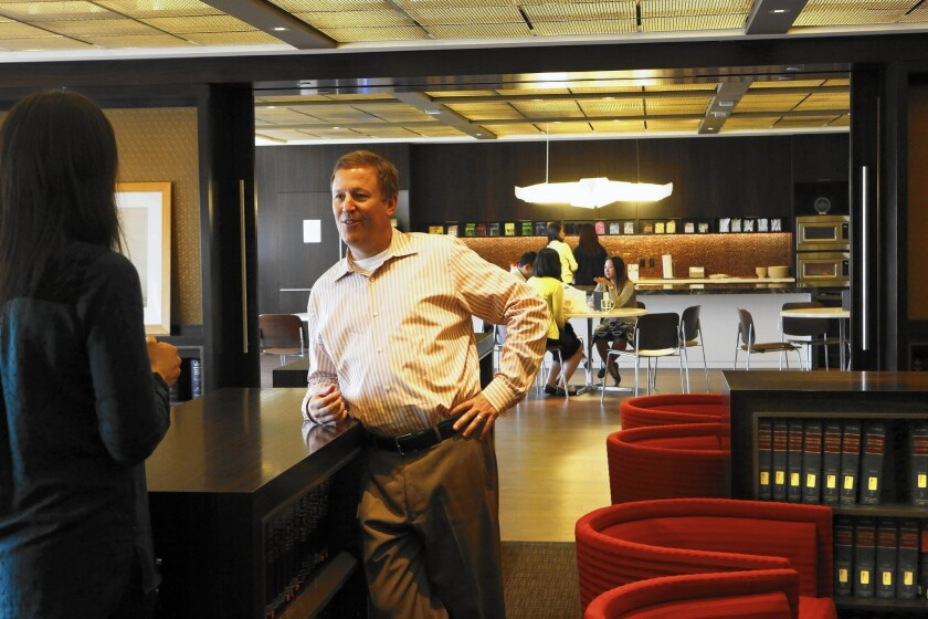 """Managing partner Gregory Koltun in law firm Morrison & Foerster's """"loungebrary,"""" named for its combined function as lounge and library."""