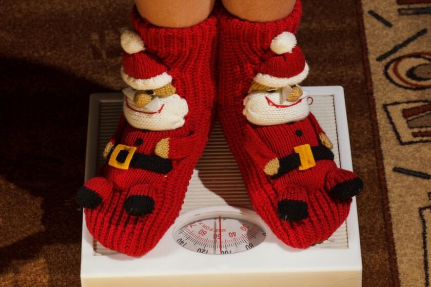 girl standing on floor vysah in Christmas socks