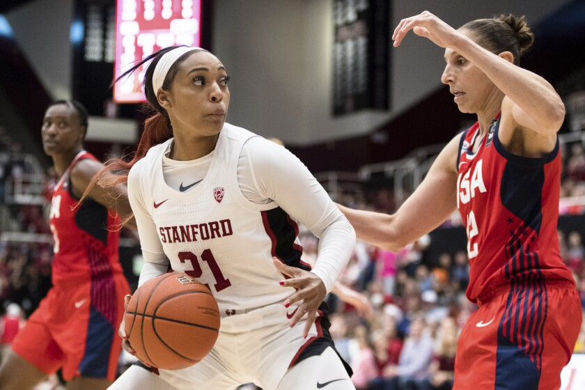 DiJonai Carrington (21) dribbles as Team USA guard Diana Taurasi defends during exhibition women's basketball game on Nov. 2, 2019 at Stanford. Carrington is transferring from Stanford to Baylor for her final collegiate season.