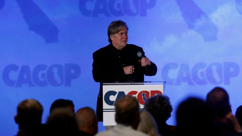 Stephen K. Bannon speaks during the California Republican Party convention at the Anaheim Marriott.