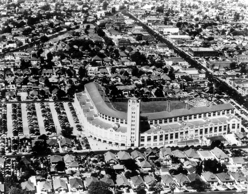 An aerial view in 1961 of Los Angeles' Wrigley Field.