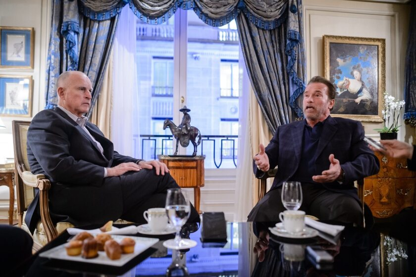 Jerry Brown and Arnold Schwarzenegger at COP21