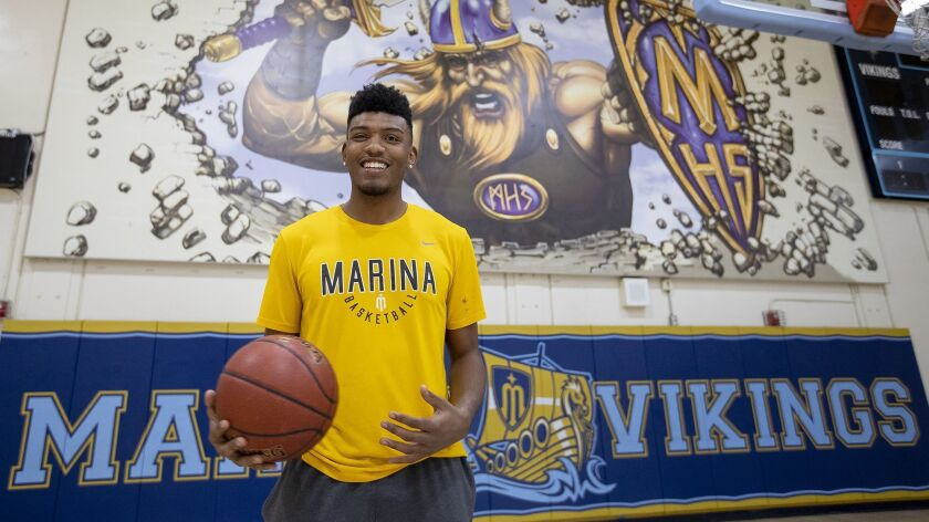 Marina High senior boys' basketball guard Jakob Alamudun is the Male Athlete of the Week.