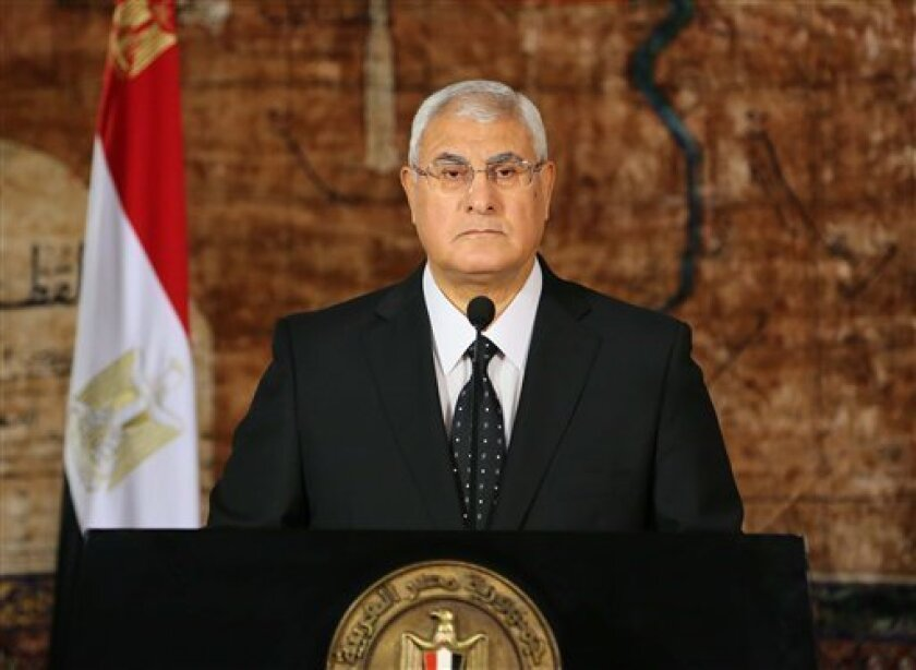 FILE -- In this Thursday, July 18, 2013, file photo released by the Egyptian Presidency, Egypt's interim President Adly Mansour makes his first address to the nation since taking his post after the ouster of Islamist President Mohammed Morsi, in Cairo, Egypt. Egypt's interim president has defended the military's ouster of President Mohammed Morsi, saying he failed to deliver on campaign promises and was forced out by the will of people who elected him and not by a coup. In his first interview si