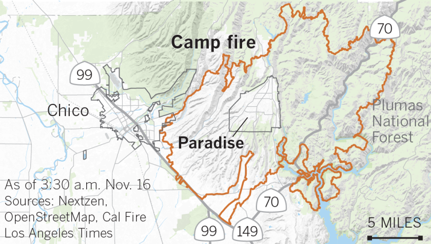 Paradise California Map.Track Key Details Of The California Wildfires Los Angeles Times
