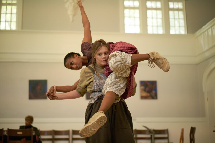 "Himerria Wortham, left, and Tess Hewlett in Heidi Duckler Dance's site-specific work ""Hildegard Herself."""