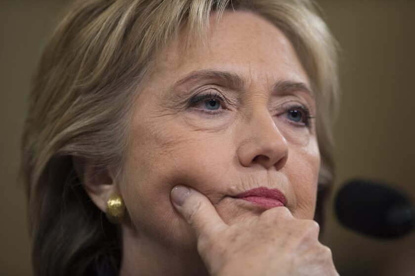 Former secretary of State and Democratic presidential candidate Hillary Rodham Clinton appears before the House Select Committee on Benghazi in Washington.