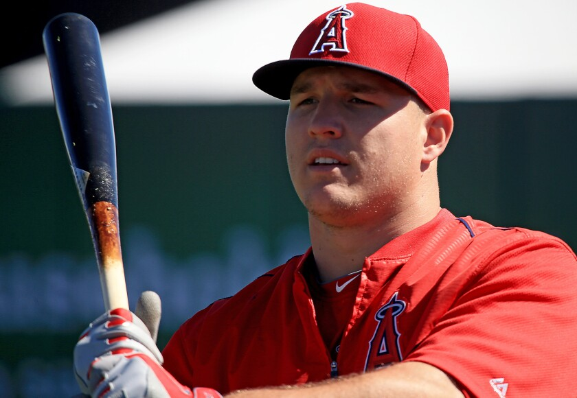 Angels outfielder Mike Trout during a spring training batting practice session.