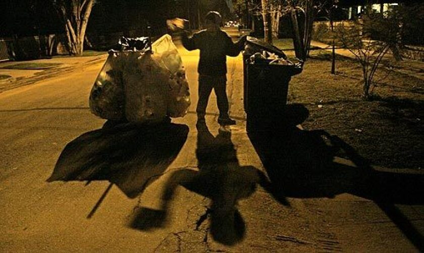 Juana Rivas, 47, takes to the streets in and around Pasadena between 3 and 4 a.m., five days a week, to collect recyclables.