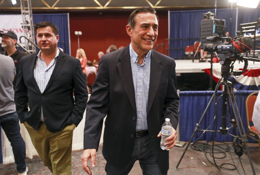 Darrell Issa, candidate for the 50th Congressional District, at the Golden Hall election central in downtown San Diego on Tuesday, March 3, 2020.