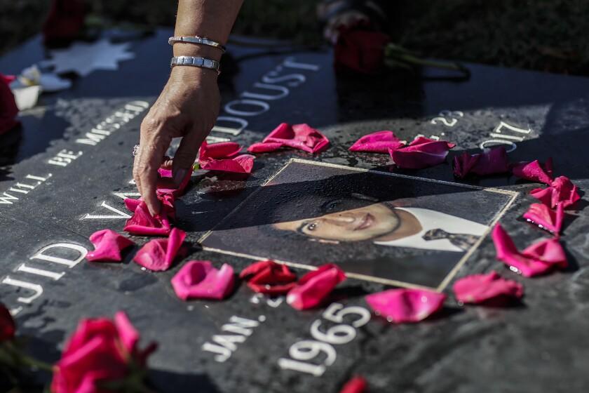 Pink flower petals surround a man's portrait on his gravestone