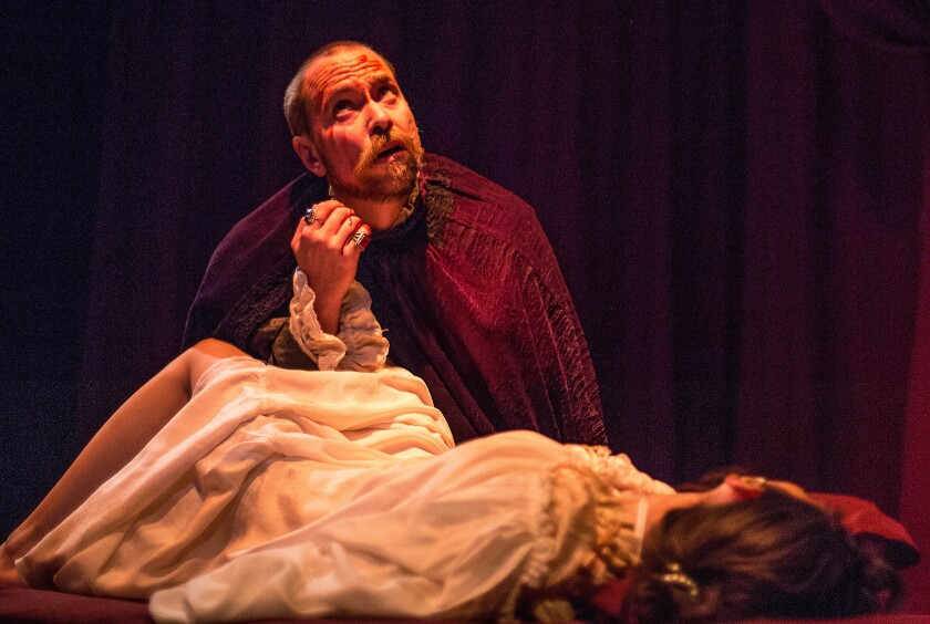 """A tormented composer (Karl Herlinger) in a fateful moment of truth with his unfaithful wife (Jeanne Syquia) in """"Fugue."""""""