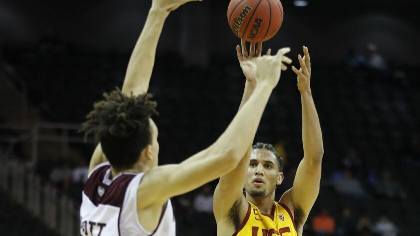 USC's Bennie Boatwright shoots over Missouri State's Darian Scott during the first half on Tuesday in Kansas City, Mo.