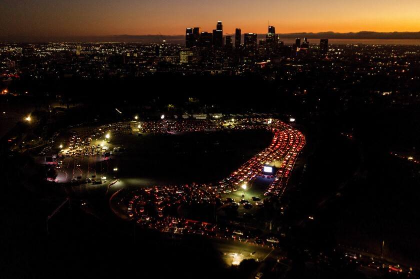 Aerial view of cars in line at night