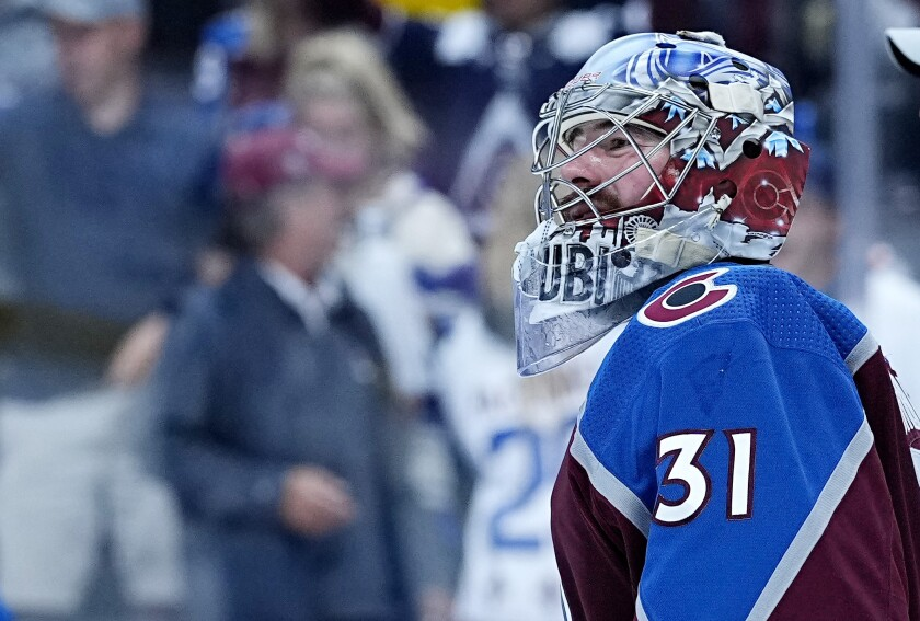 Colorado Avalanche goaltender Philipp Grubauer (31) is seen after a win against the Vegas Golden Knights in Game 1 of an NHL hockey Stanley Cup second-round playoff series Sunday, May 30, 2021, in Denver. (AP Photo/Jack Dempsey)