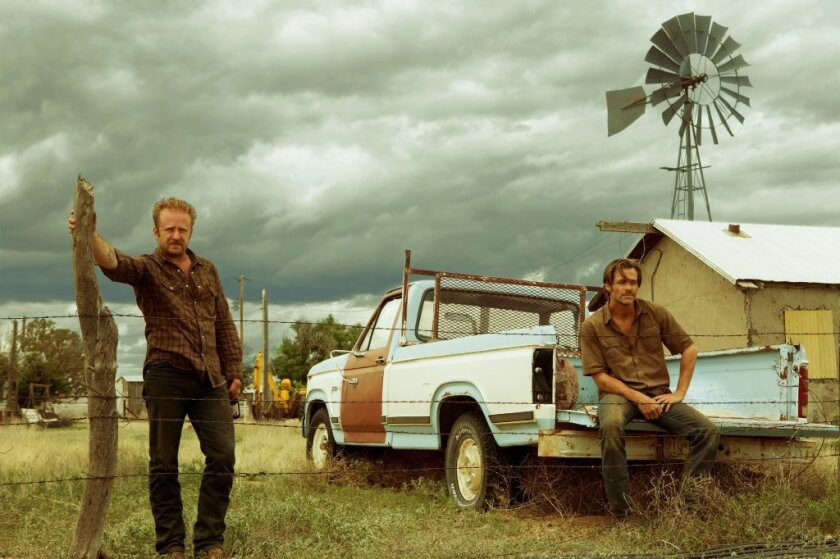 """Ben Foster,left, and Chris Pine in """"Hell or High Water,"""" set in a bleak and foreboding West Texas."""