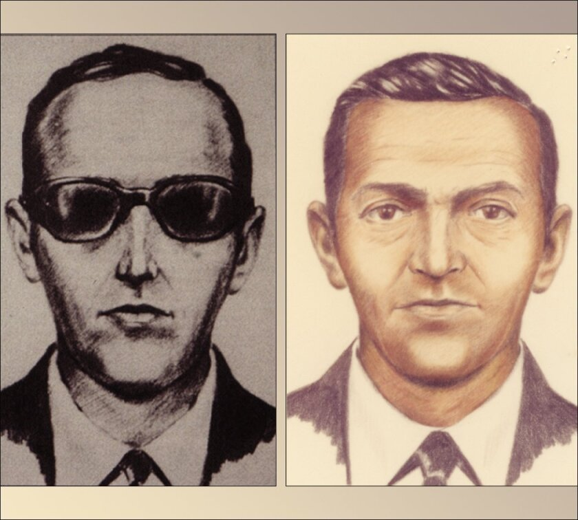 Artist sketches released by the FBI of a man calling himself D.B. Cooper, who vanished in 1971 with $200,000 in stolen cash after hijacking a commercial airliner over Oregon.