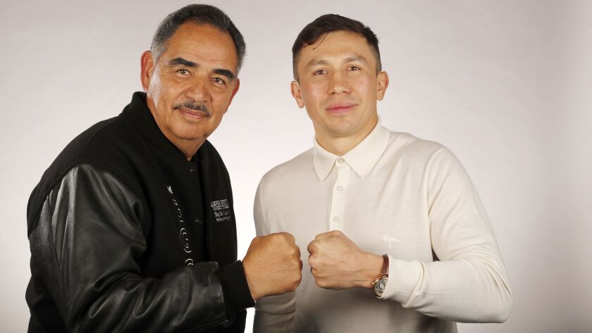 LOS ANGELES, CALIF. -- MONDAY, MARCH 11, 2019: Boxer Gennady ?GGG? Golovkin, right, seen her with tr
