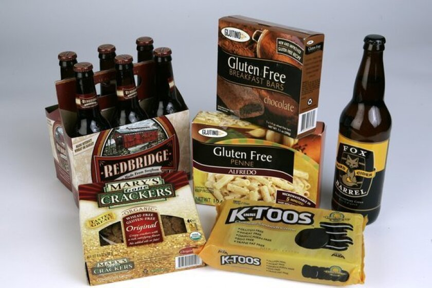 Gluten-free items include Redbridge Beer, Mary's Gone Crackers, gluten free Penne Alfredo, gluten free Breakfast Bars, Kinnitoos Chocolate Sandwich Cookies and Fox Barrel Hard Cider.