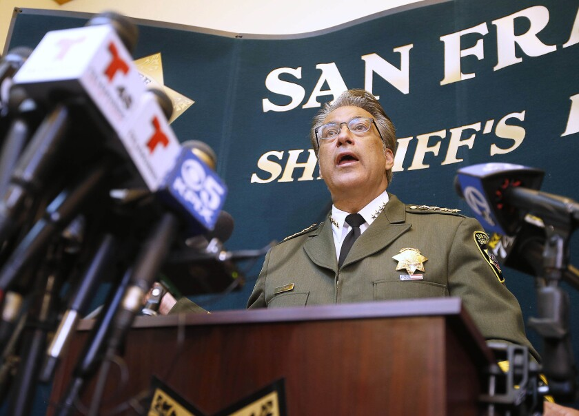 San Francisco Sheriff Ross Mirkarimi discusses the release in April of murder suspect Juan Francisco Lopez-Sanchez at a news conference July 10.