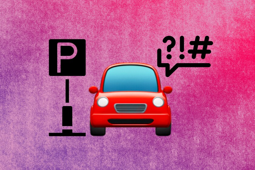 graphic of a car emoji with a parking sign and a cursing speech bubble on either side.
