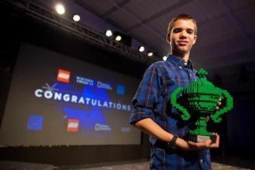 Jonah Kohn receiving his award at the Google Science Fair last year.