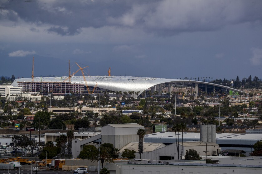 An aerial view of SoFi Stadium under construction in Inglewood.