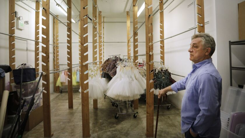LOS ANGELES, CA -- JUNE 10, 2019: Marat Daukayev stands in the nearly empty wardrobe room at his bal
