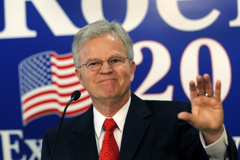 """FILE - In this March 3, 2012 file photo, former Louisiana Gov. Charles """"Buddy"""" Roemer gestures during a news conference in Baton Rouge, La. Roemer, a Harvard-educated reform-minded politician whose one tumultuous term as Louisiana's governor was marked by bruising political battles over taxes, budgets and abortion, died Monday, May 17, 2021, at age 77. (AP Photo/Gerald Herbert, File)"""