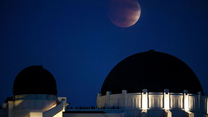 The Griffith Observatory at night.