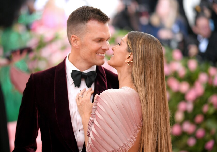 Free-agent quarterback Tom Brady and his wife Gisele Bundchen attend The Met Gala in May 2019.