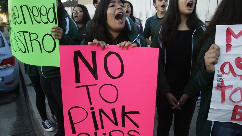 MONTEBELLO, CA, MARCH 16, 2017: Students from Schurr High School in Montebello protest the possible