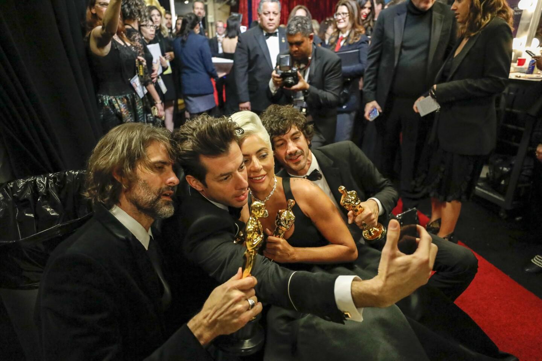 Lady Gaga backstage at the 91st Academy Awards on Sunday.
