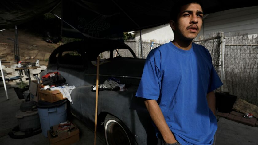 LOS ANGELES, CA - NOVEMBER 29, 2017 Peter Arellano, 22, at his home in Echo Park on November 29, 20