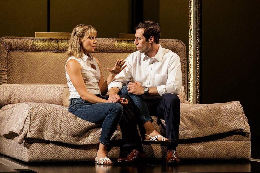 "Annika Boras and Josh Cooke play Amy and Robert Merkin in La Jolla Playhouse's world premiere of Ayad Akhtar's ""Junk: The Golden Age of Debt."""