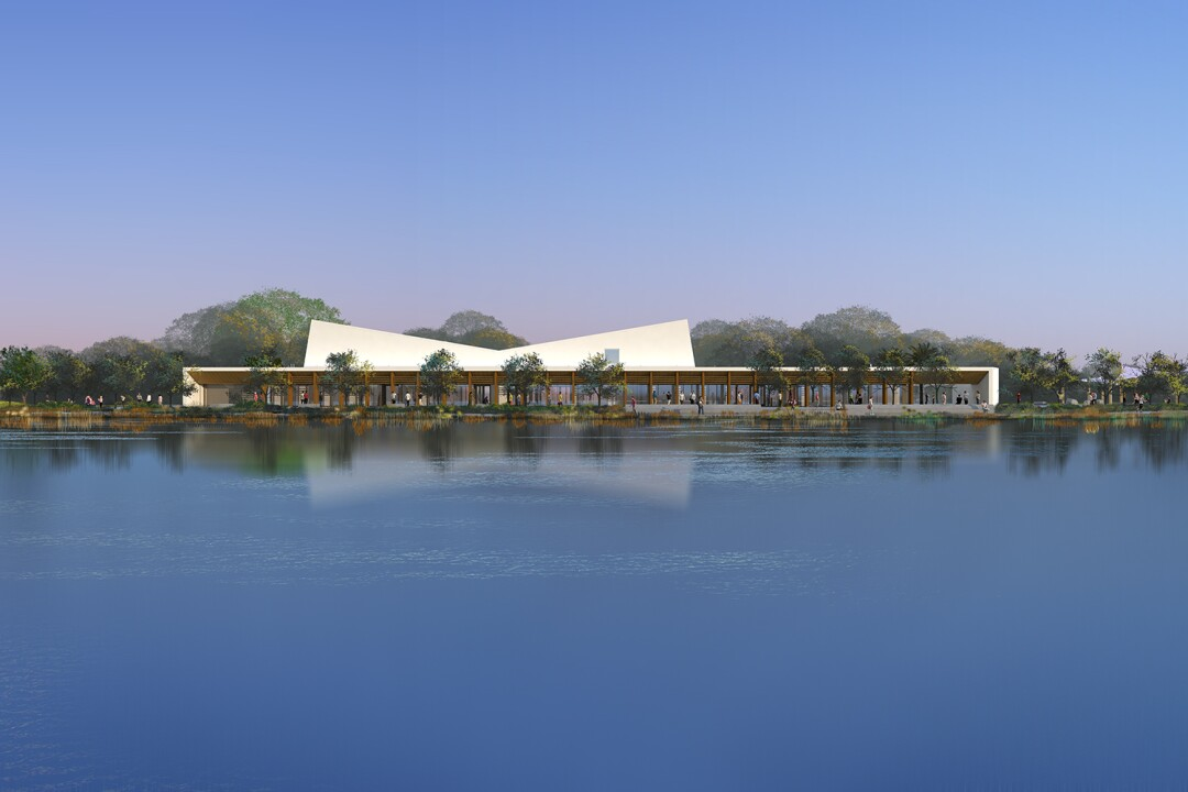 A rendering of the Earvin Magic Johnson Park and Event Center by Paul Murdoch Architects.