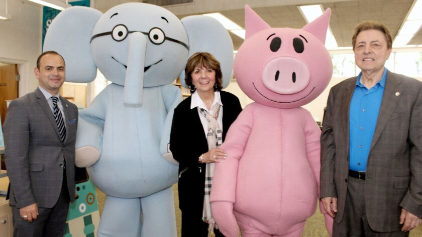 Joining Elephant and Piggie at Grandview Library's re-opening are, from left, Glendale Mayor Zareh S