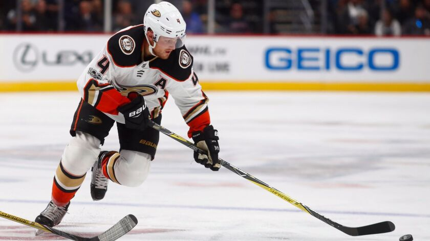 Ducks defenseman Cam Fowler during a game against the Colorado Avalanche in October.