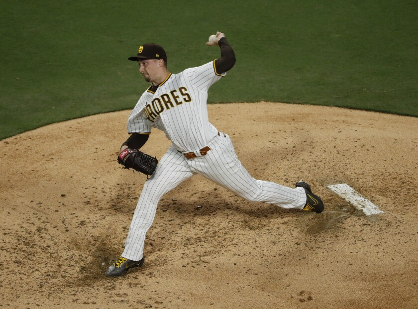 Padres pitcher Blake Snell throws against the Dodgers