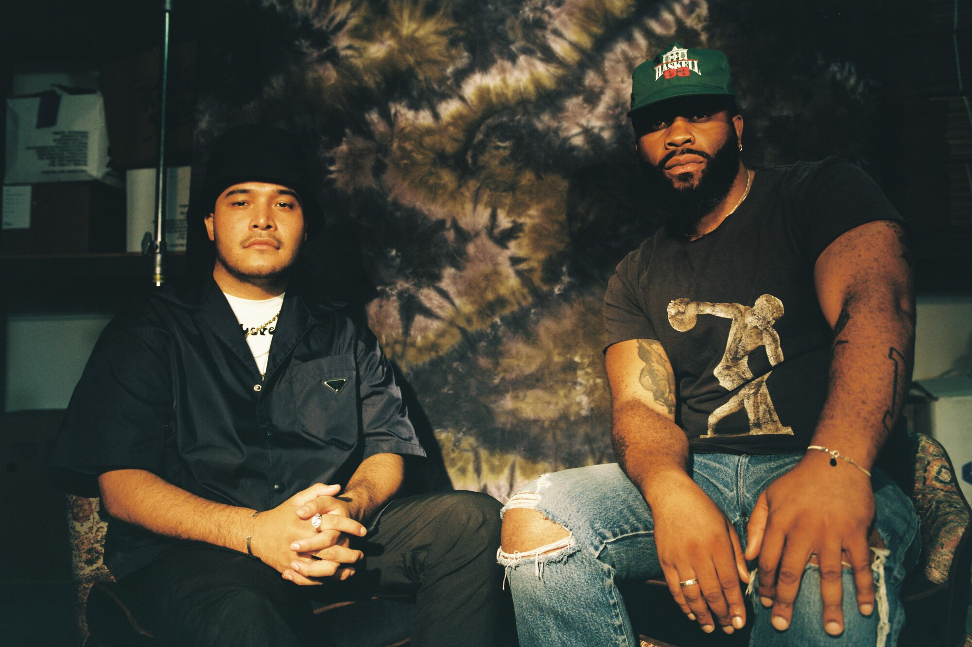 The co-founders of Kids of Immigrants at their studio. Daniel Buezo, left, and Weleh Dennis, right.