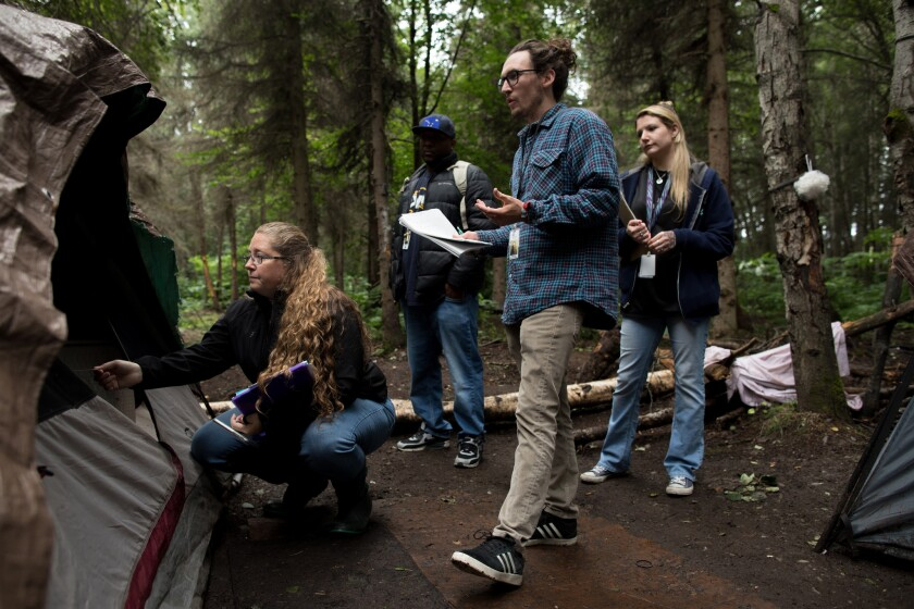 ANCHORAGE, ALASKA - Wednesday, August 16, 2018: Choices Path Outreach Coordinators Chalon Lubin spea