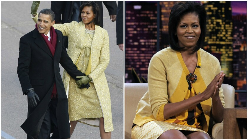 "At left, the first lady wears a yellow Isabel Toledo dress while walking with the president on Inauguration Day 2009. At right, she appears on ""The Tonight Show With Jay Leno"" on Oct. 27, 2008, in a J. Crew ensemble that sells out online the following day."