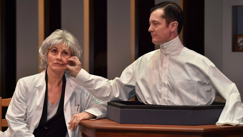 """Susan Denaker and Jacob Sidney star in """"Uncanny Valley,"""" directed by caryn desai at the International City Theatre in Long Beach."""