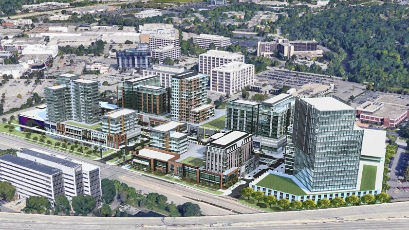 This conceptual rendering shows what the redevelopment of McDonald's Plaza could look like, drawn by the architectural firm Antunovich and Associates. Such a plan could include a mix of retail, residential, hotel and office space.